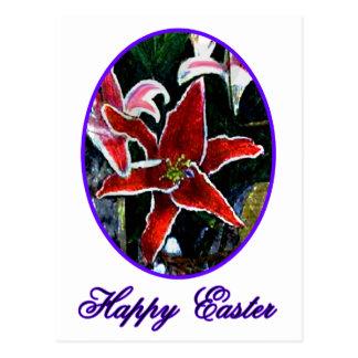 Lilja för tiger för glad påsknolla purpurfärgad vykort