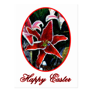 Lilja för tiger för glad påsknolla röd den vykort