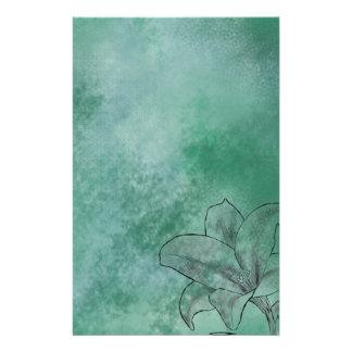 Lilja i blått brevpapper