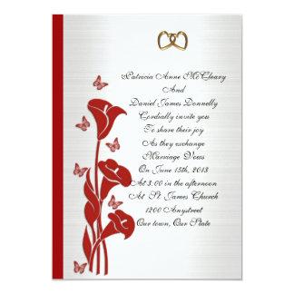 Lilja och fjärilar för calla för bröllopinbjudan 12,7 x 17,8 cm inbjudningskort
