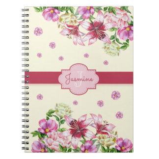 Lilja- & pionblommigtgult anteckningsbok