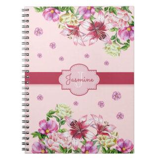 Lilja- & pionblommigtrosor anteckningsbok med spiral