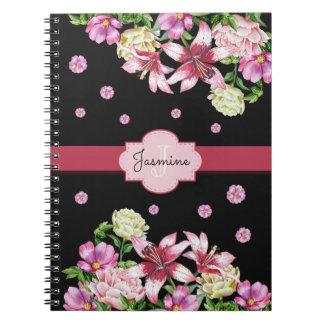 Lilja- & pionblommigtsvart anteckningsbok med spiral