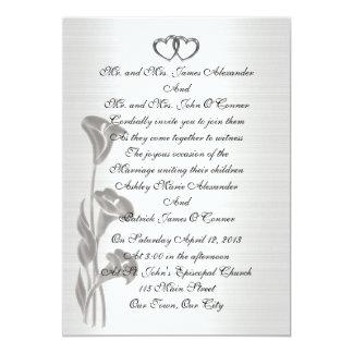 Liljar för bröllopinbjudansatäng-look calla 12,7 x 17,8 cm inbjudningskort