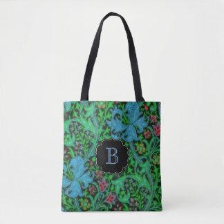 Liljavintageblommönster med monogramen tygkasse