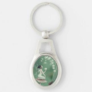 Liljekonvaljblomma felika ovala Keychain Ovalt Silverfärgad Nyckelring