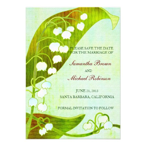 Liljekonvaljbröllop spara datum anpassade inbjudan