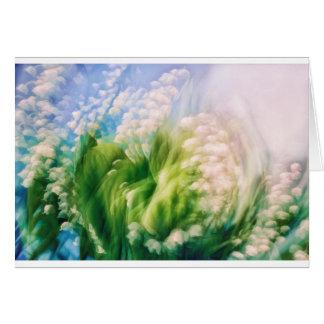 Liljekonvaljdans i blått hälsningskort