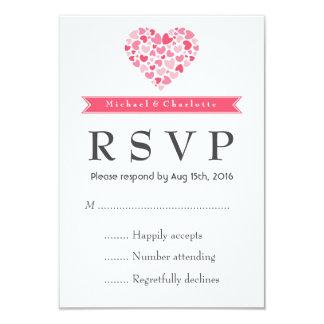 Lilla hjärtor rosor och vitbröllop OSAkort 8,9 X 12,7 Cm Inbjudningskort