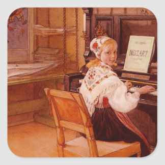 Lillanna som övar Mozart på piano Fyrkantigt Klistermärke