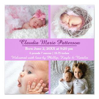Lilor 4 foto - födelsemeddelande fyrkantigt 13,3 cm inbjudningskort