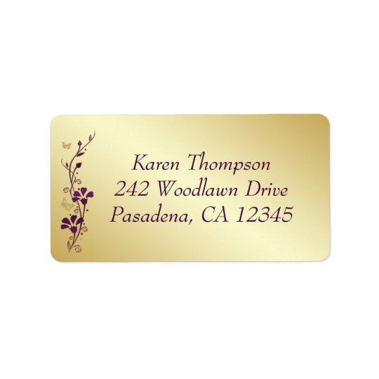 Lilor blom- returadressetikett för guld- fjäril adressetikett