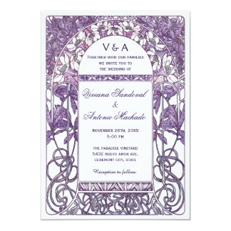 Lilor för art nouveauvintage bröllopinbjudningar 12,7 x 17,8 cm inbjudningskort