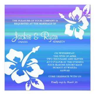 Lilor för blått för hibiskus för fyrkantigt 13,3 cm inbjudningskort