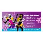 Lilor för dans för kort för nyårsaftonpartyfoto skräddarsydda fotokort