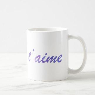 Lilor för den Je t'aimevattenfärgen älskar jag dig Kaffemugg