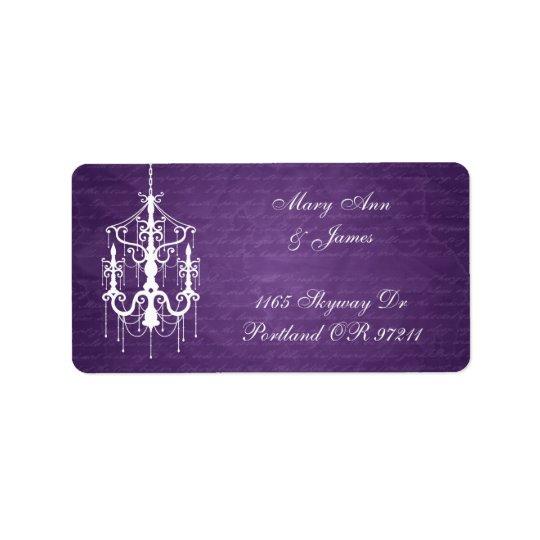 Lilor för elegant bröllopadressljuskrona adressetikett