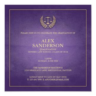 Lilor för juridisk fakultetstudentenmeddelande | fyrkantigt 13,3 cm inbjudningskort