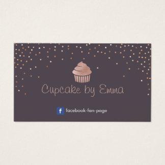 Lilor för konfettiar för rosa guld- muffin för visitkort