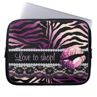 Lilor för laptop sleeve för tryck för sebrasnörelä laptopfodral