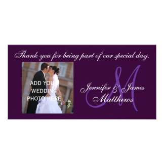 Lilor för meddelande för brölloptackMonogram Fotokort