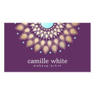 Lilor för motiv för Makeupkonstnär eleganta guld- Set Av Standard Visitkort