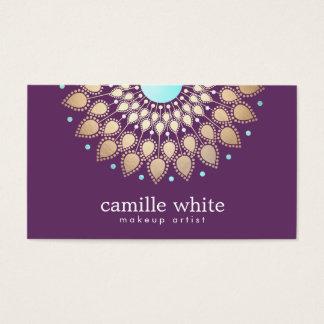 Lilor för motiv för Makeupkonstnär eleganta guld- Visitkort