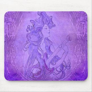 Lilor för vintage för art nouveaugitarrflicka mus mattor