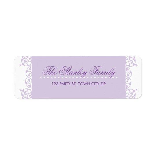 Lilor för violet för RETURETIKETTERsötkrullning Returadress Etikett