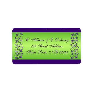 Lilor grön blom- bröllopadressetikett 2 adressetikett
