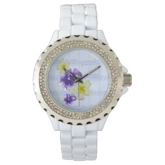 Lilor & gula blommornotbladklocka armbandsur