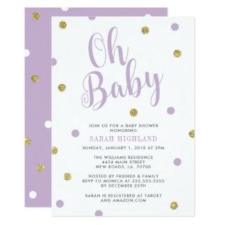 Lilor & guld- glitterOh baby shower 12,7 X 17,8 Cm Inbjudningskort