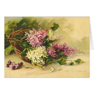 Lilor i ett basketkort hälsningskort