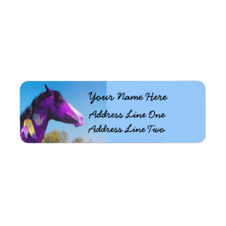 Lilor målar returetiketter för hästkrigponny returadress etikett