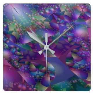 Lilor och blått bubblar Fractal Fyrkantig Klocka