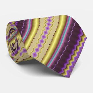 Lilor och guld- diagonalt Fractalmönster Slips
