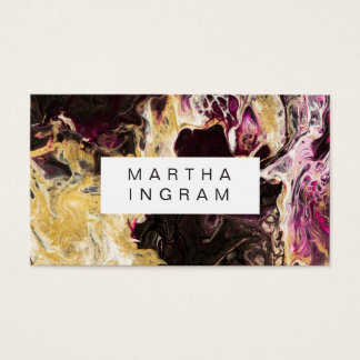 Lilor och guld för konstdesignabstrakt Fluid mörka Visitkort