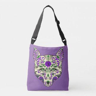Lilor och kräm för vargsockerskalle violetta axelväska