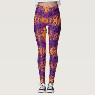 Lilor och orange mönstertryckdamasker leggings