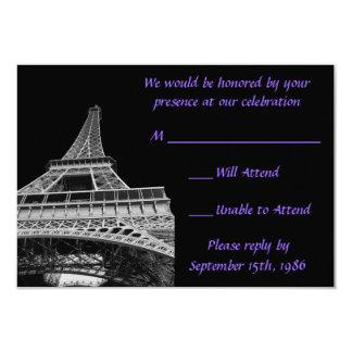 Lilor och svart Eiffel tornOSA kort 8,9 X 12,7 Cm Inbjudningskort