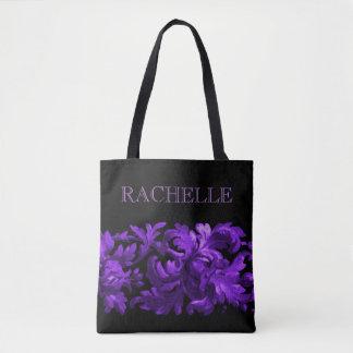 Lilor och svart målad barock gräns med namn tygkasse