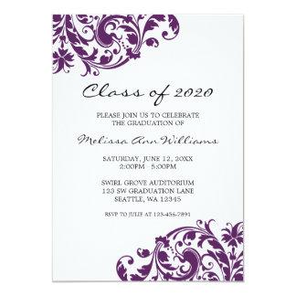 Lilor och svarten virvlar runt studentenmeddelande 12,7 x 17,8 cm inbjudningskort