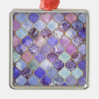 Lilor och tänder - marockanska blått belägger med silverfärgad fyrkantigt julgransprydnad