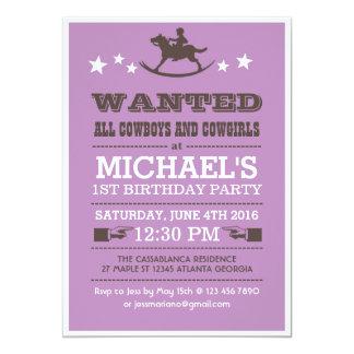 Lilor önskade western Cowboyfödelsedaginbjudan 12,7 X 17,8 Cm Inbjudningskort