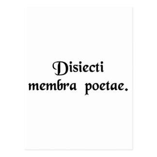 Limbs av en dismembered poet. vykort