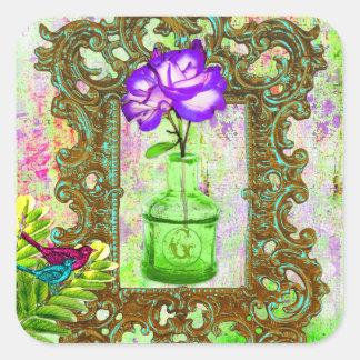 Limefrukt för lilor för växthus för GC | chic Fyrkantigt Klistermärke