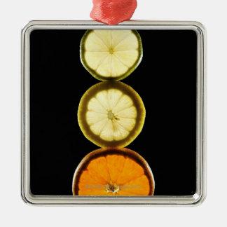 Limefrukt grapefrukt, citron, frukt, svart julgransprydnad metall