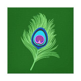 Limefrukt- och blåttpåfågelfjäder på smaragdgrönt canvastryck