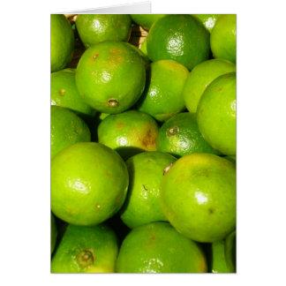 Limefrukter på trevlig frukt marknadsför, hälsningskort