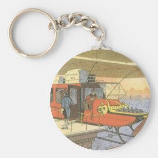Limo för helikopter för vintagescience rund nyckelring
